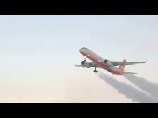 Взлет Ту-204 на сильном морозе(-45C)
